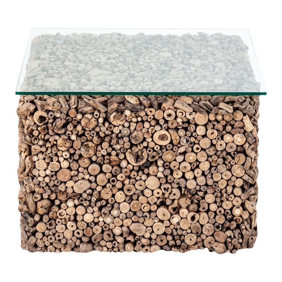 table basse carr en bois flott et plateau verre vical home vical - Table Basse Bois Flotte