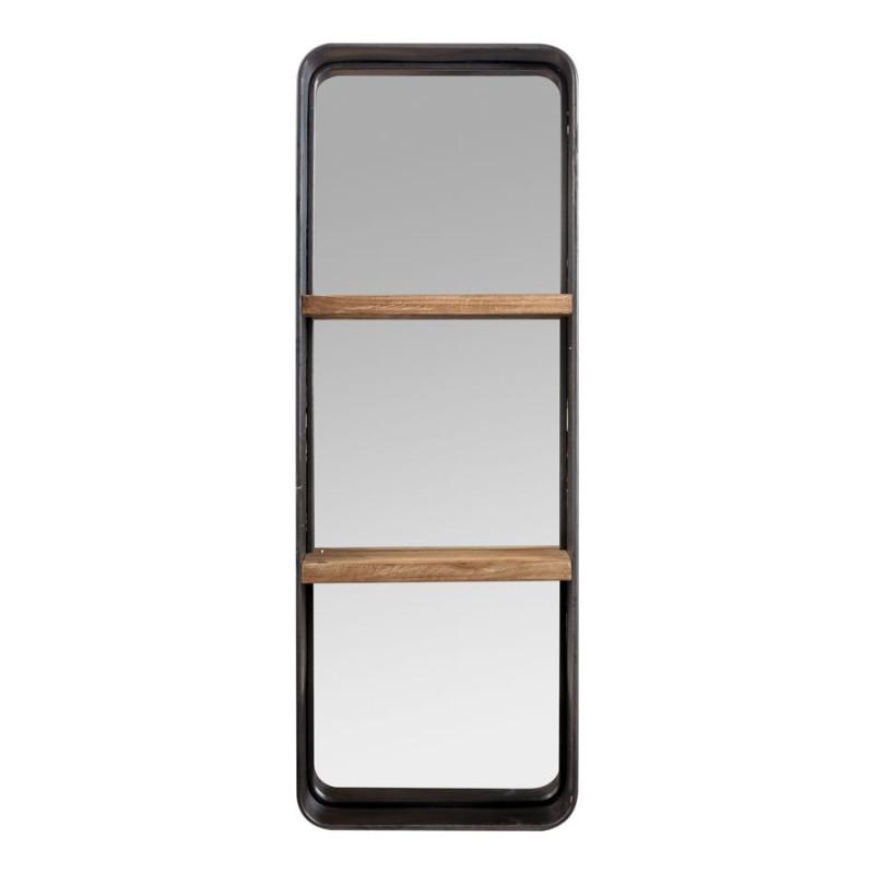 Etag re murale miroir 2 niveaux en bois et m tal vieilli for Miroir bois metal