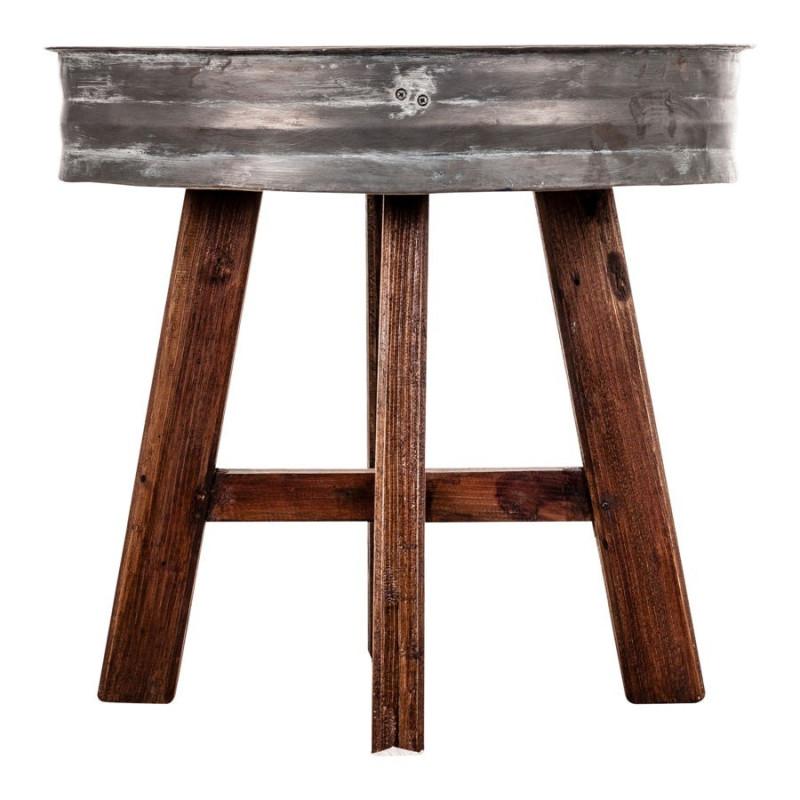 table basse ronde atelier en zinc et bois vieilli vical home vical. Black Bedroom Furniture Sets. Home Design Ideas