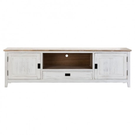 meuble tv 3 tiroirs en bois blanc antique vical home vical home 20592. Black Bedroom Furniture Sets. Home Design Ideas