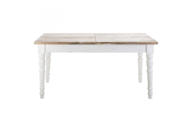 Table en bois blanc avec rallonge for Table a manger rectangulaire bois