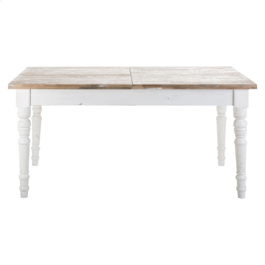 table a manger rectangulaire en bois blanc antique avec rallonge vical home