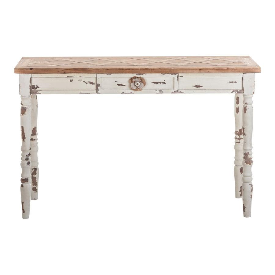 console sculptee en bois patinee vieilli blanc et naturel 1 t vical