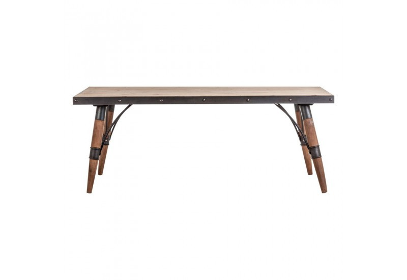 Table basse rectangulaire r tro en bois brut naturel et for Table basse noir et bois