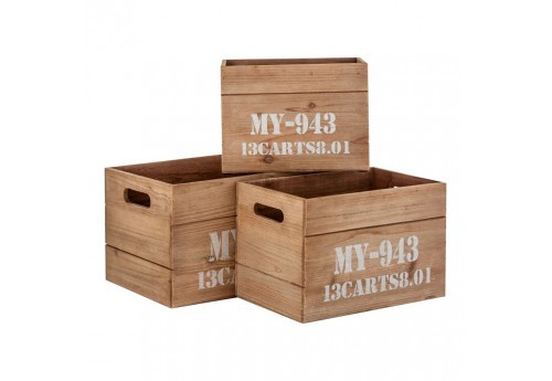 Set de 3 caisses rectangulaire en bois brut Vical Home