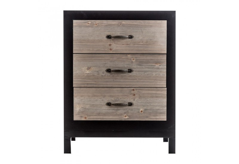 table de chevet r tro en bois brut et m tal noir 3 tiroirs vical ho. Black Bedroom Furniture Sets. Home Design Ideas