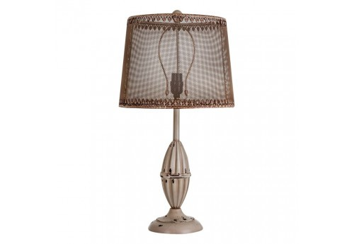 Lampe baroque aspect ancien beige abat-jour grillage Vical Home