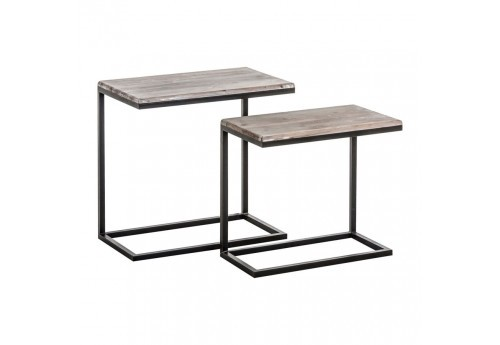 set de table d 39 appoint industriel m tal et bois vieilli vical home. Black Bedroom Furniture Sets. Home Design Ideas