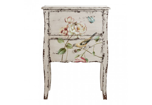 Table de chevet florale chic patine blanc antique Vical Home