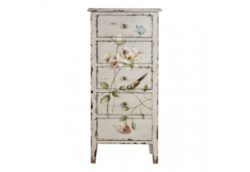 Chiffonnier florale chic patine blanc antique Vical Home