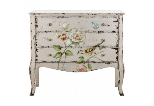 Commode florale chic patine blanc antique Vical Home