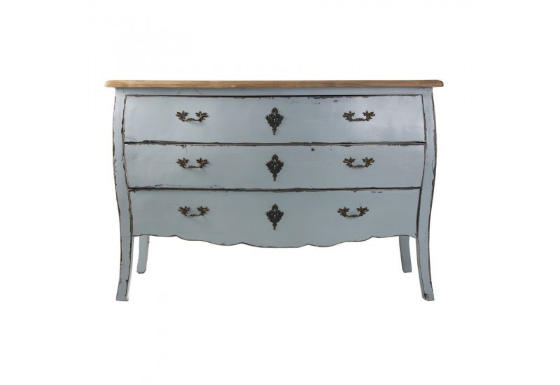 double commode baroque chic 3 tiroirs patin bleu clair vical home. Black Bedroom Furniture Sets. Home Design Ideas