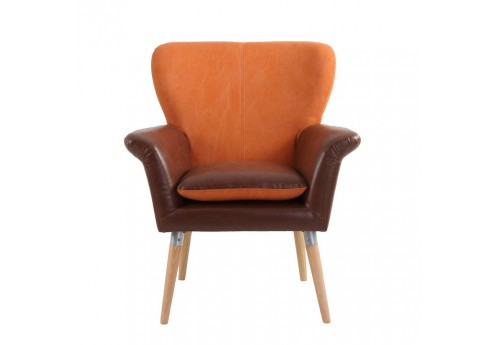 Fauteuil scandinave en simili cuir marron et tissu orange Vical Home