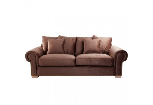 Canap 3 places en velours marron finition clout vical - Canape en velours ...