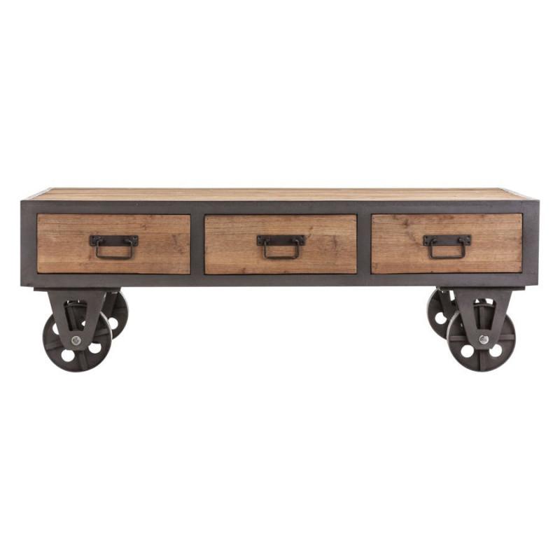 table basse industriel sur roulettes en m tal gris et en bois brut. Black Bedroom Furniture Sets. Home Design Ideas