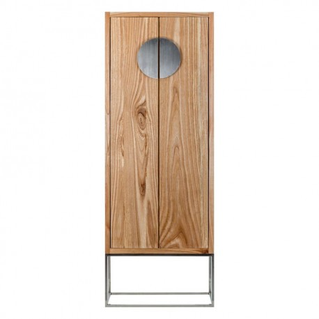 Armoire 2 portes coloniale en bois exotique sur socle inox for Armoire chambre style colonial