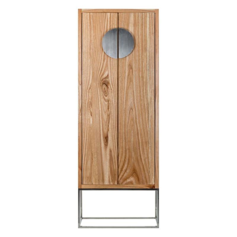 armoire 2 portes coloniale en bois exotique sur socle inox. Black Bedroom Furniture Sets. Home Design Ideas