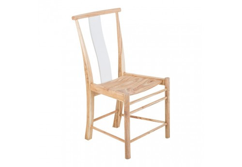 Chaise en bois exotique naturel et assise blanc Vical Home