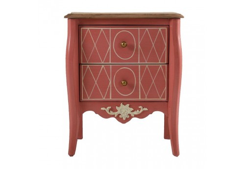 petite commode baroque chic 2 tiroirs en bois rouge vical home vica. Black Bedroom Furniture Sets. Home Design Ideas