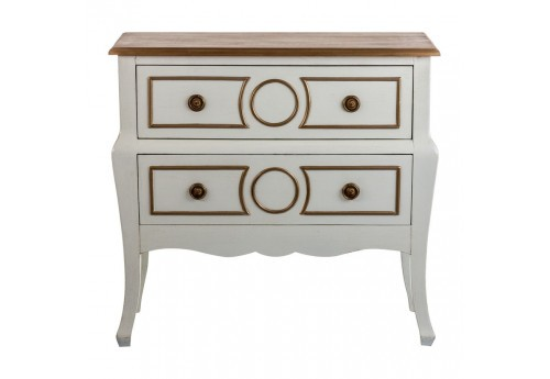 Commode baroque chic 2 tiroirs en bois blanc et or Vical Home