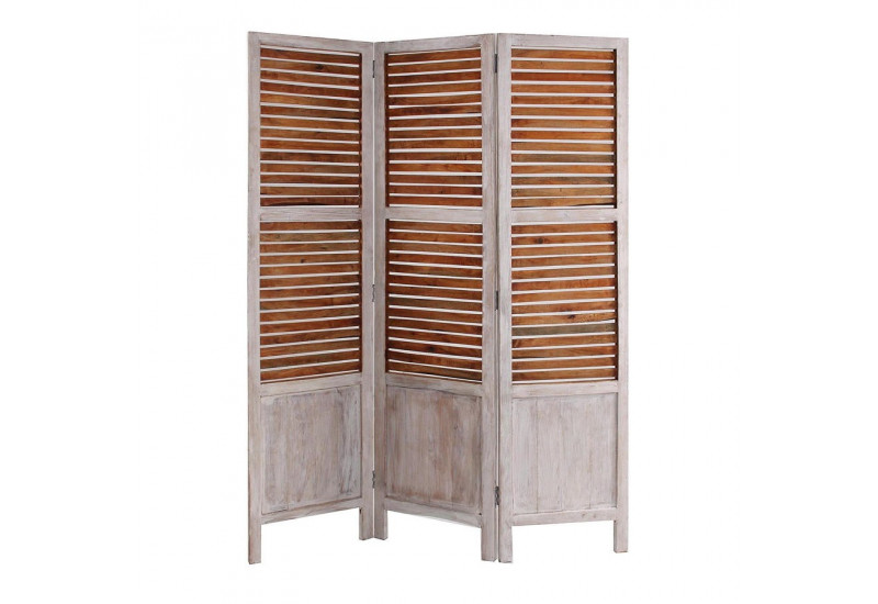paravent 3 panneaux persienne en bois patin naturel et blanc vical. Black Bedroom Furniture Sets. Home Design Ideas