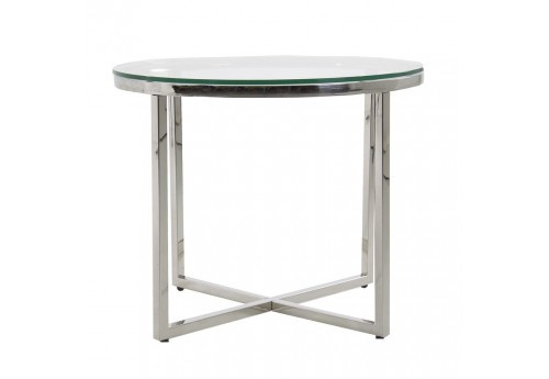 Table ronde en inox et plateau verre Vical Home