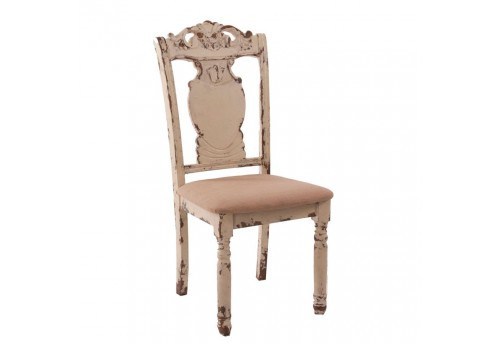 chaise en bois vieilli blanc antique Vical Home