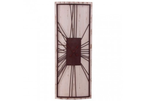 Horloge rectangulaire vieilli blanc Vical Home