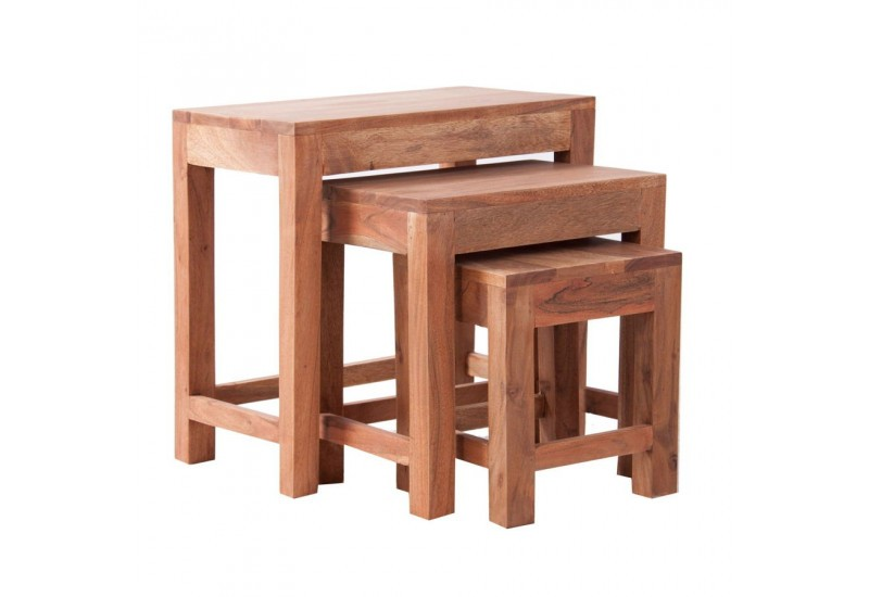 Set de 3 tables gigognes en bois naturel brut vical home for Set de table en bois