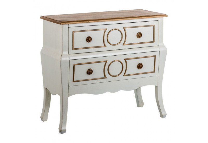 Commode baroque chic 2 tiroirs en bois blanc et or vical home vical - Commode en bois blanc ...