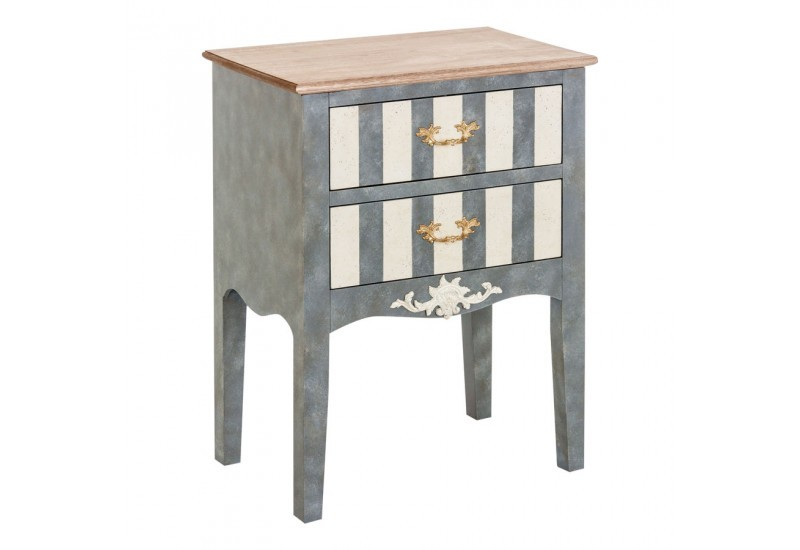 Petite commode baroque chic 2 tiroirs rayure blanc et gris Vical Home