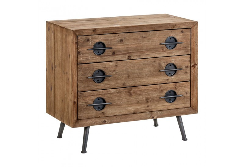 Commode 3 tiroirs coloniale en bois naturel et noir Vical Home