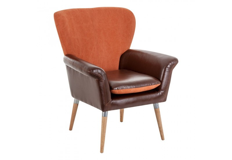 fauteuil scandinave en simili cuir marron et tissu orange vical hom. Black Bedroom Furniture Sets. Home Design Ideas