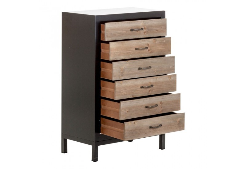 chiffonnier r tro en bois noir et naturel 5 tiroirs vical. Black Bedroom Furniture Sets. Home Design Ideas