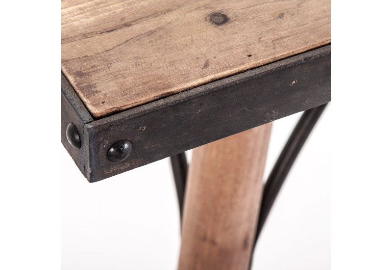 Table manger r tro en bois sculpt e naturel finition for Table a manger noir