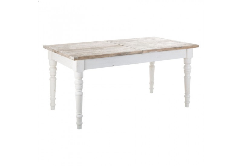 Table manger rectangulaire en bois blanc antique avec for Table a manger blanche avec rallonge
