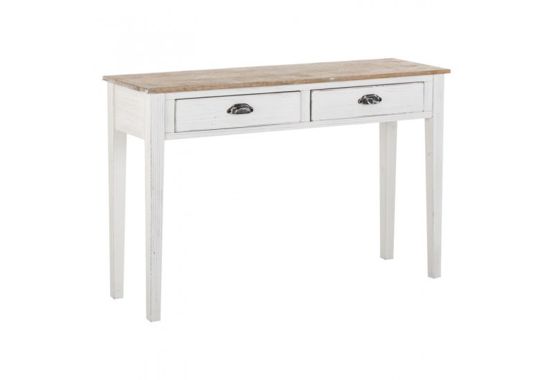Console 2 tiroirs bois blanc antique Vical Home