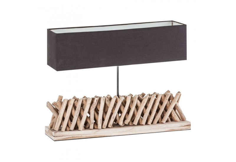 lampe rectangulaire en bois flott et abat jour marron vical home v. Black Bedroom Furniture Sets. Home Design Ideas