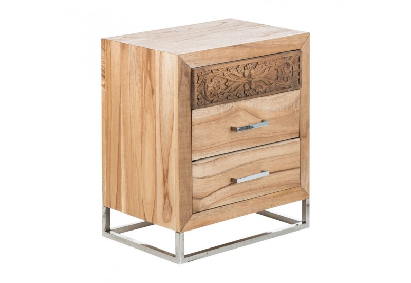 Table de chevet exotique en bois sculpt e sur socle chrome for Table de chevet campagne