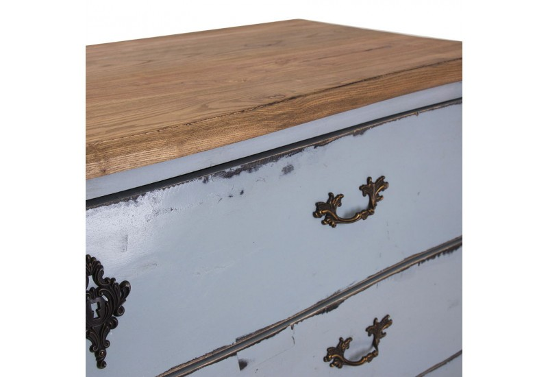 Double commode baroque chic 3 tiroirs patiné bleu clair Vical Home