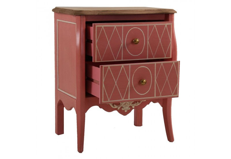 petite commode baroque chic 2 tiroirs en bois rouge vical. Black Bedroom Furniture Sets. Home Design Ideas