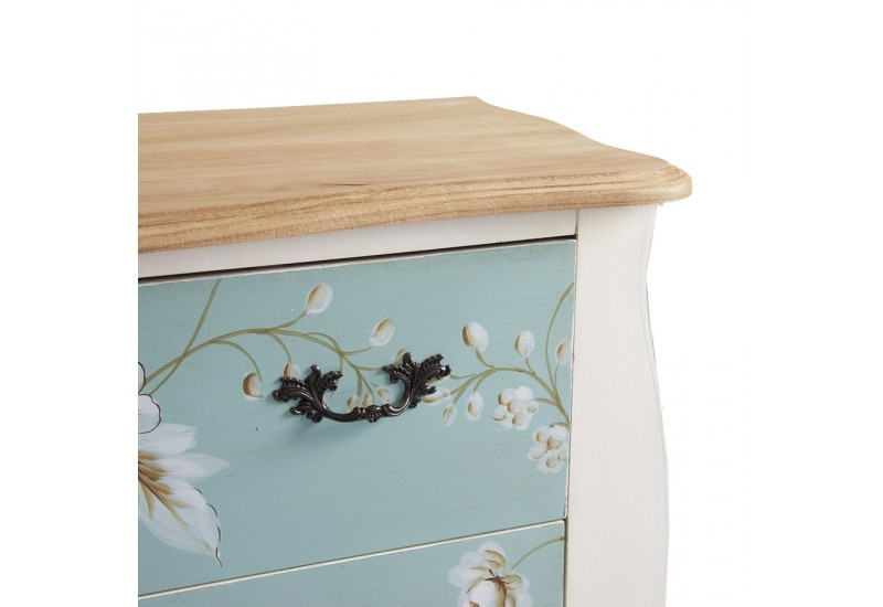 Commode baroque chic florale 2 tiroirs turquoise et blanc Vical Home