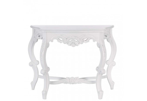 console baroque demi lune en bois blanc 100 x 45 x 80 cm aixi 20747. Black Bedroom Furniture Sets. Home Design Ideas