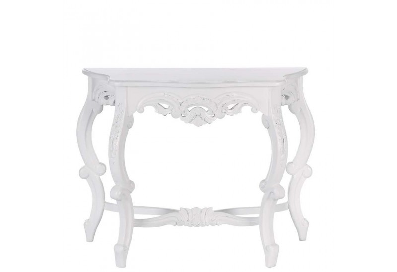 console baroque demi lune en bois blanc 100 x 45 x 80 cm. Black Bedroom Furniture Sets. Home Design Ideas