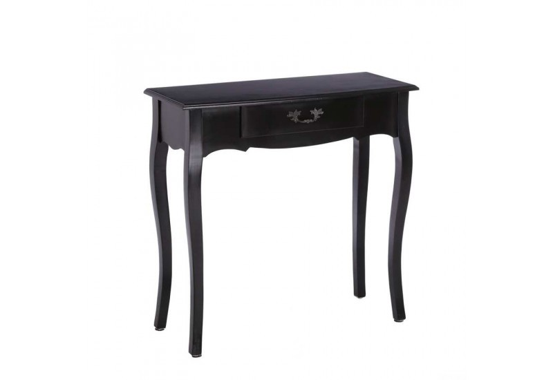 petite console rectangulaire 1 tiroir en bois noir 80 50 x 33 50 x. Black Bedroom Furniture Sets. Home Design Ideas