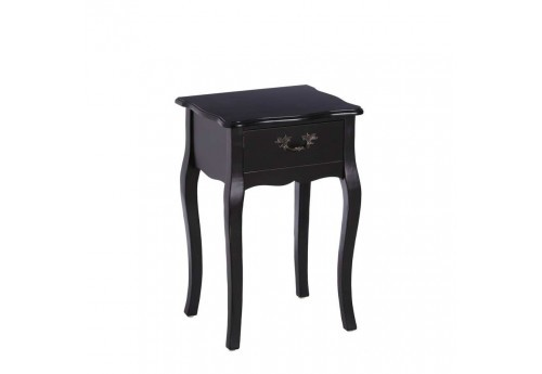 table de chevet chic 1 tiroir en bois noir 40 50 x 34 x 61. Black Bedroom Furniture Sets. Home Design Ideas