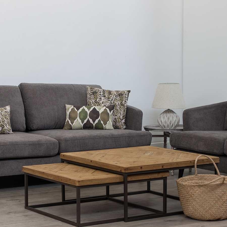 Grande Table Basse Bois table basse gigogne carré métal et bois brut 90 x 90 x 40 cm