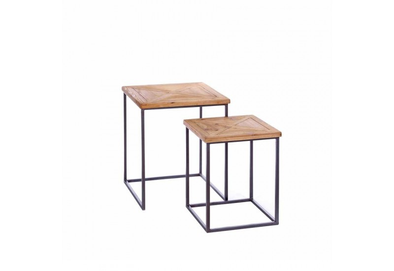 table d 39 appoint gigogne carr m tal et bois 50 x 50 x 60 cm aixi 20769. Black Bedroom Furniture Sets. Home Design Ideas