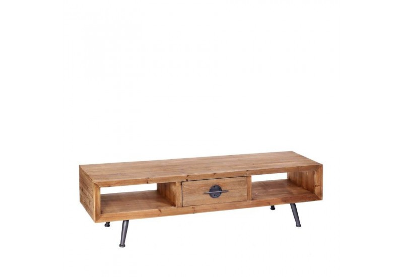 Meuble tv manhattan en bois naturel 140 x 38 x 38 cm aixi for Meuble tv bois naturel