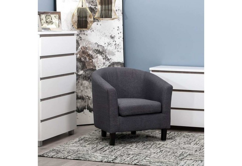 fauteuil club classique en tissu gris 76 x 70 x 73 50 cm aixi 20802. Black Bedroom Furniture Sets. Home Design Ideas